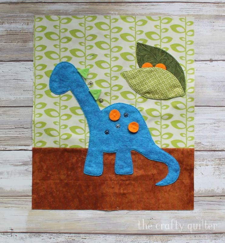 Dinosaur Busy Book page made by Julie Cefalu @ The Crafty Quilter