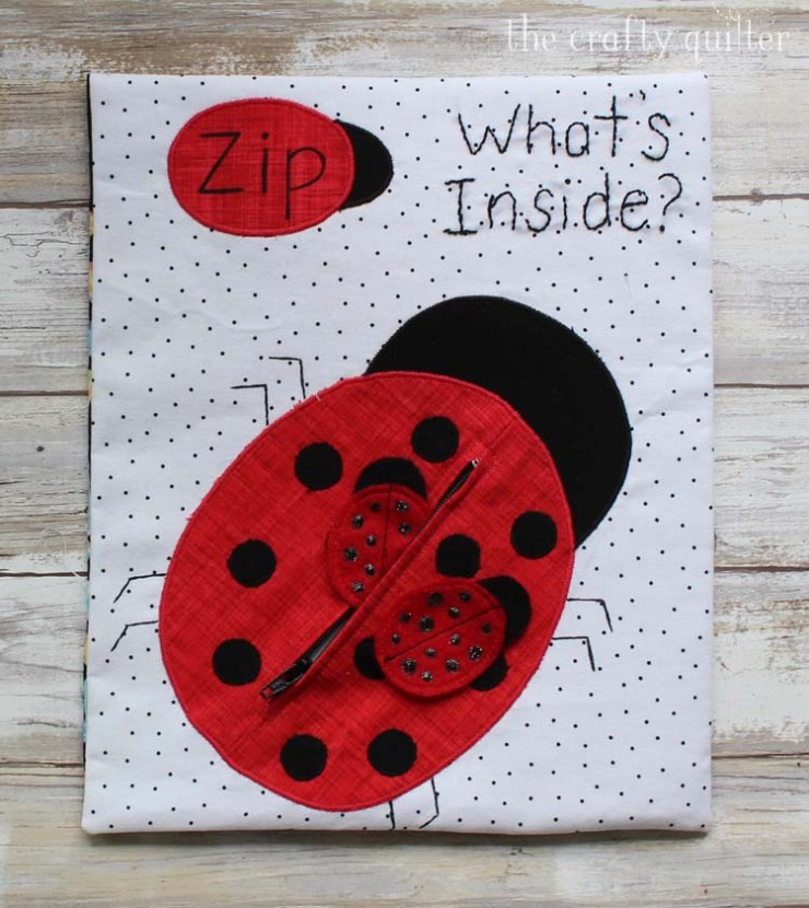 Lady Bug Zipper Busy Book page made by Julie Cefalu @ The Crafty Quilter