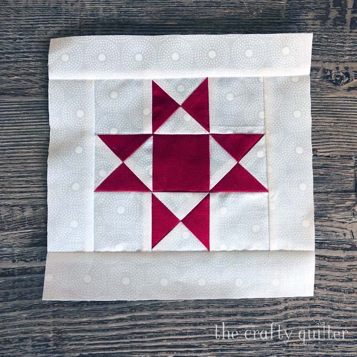 Ohio Star quilt block made by Julie Cefalu @ The Crafty Quilter.  She shares her favorite ruler for trimming those quarter square triangles.