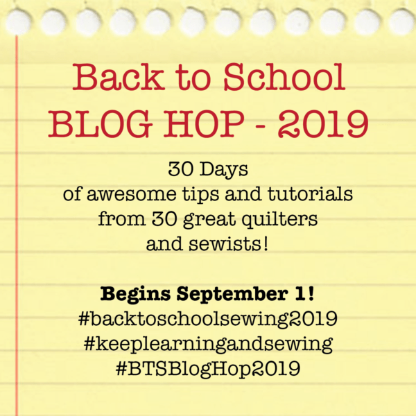 Back to School Blog Hop hosted by Hunter's Design Studio and featured on The Crafty Quilter's Sew Thankful Sunday.