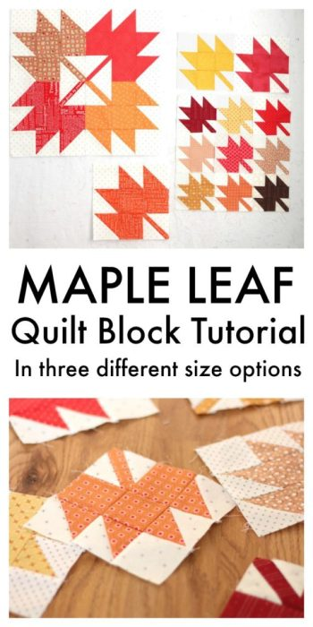 Maple Leaf Quilt Block Tutorial by Amy at Diary of A Quilter and featured on The Crafty Quilter's Sew Thankful Sunday.