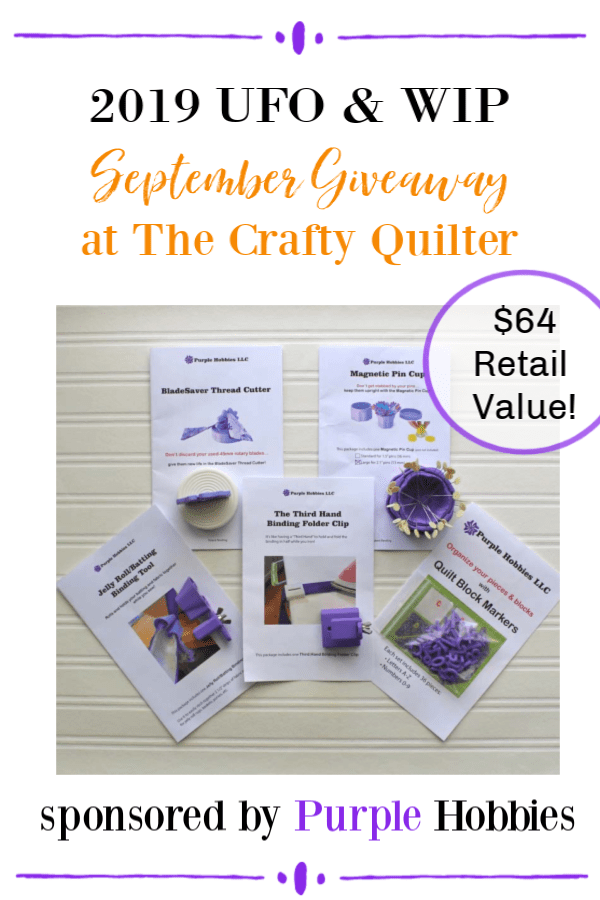 September UFO & WIP Challenge link up and giveaway prize information at The Crafty Quilter