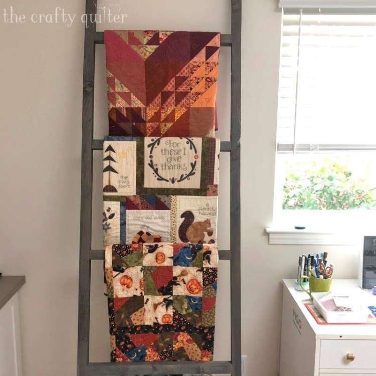 Quilt ladder ready for Fall @ The Crafty Quilter