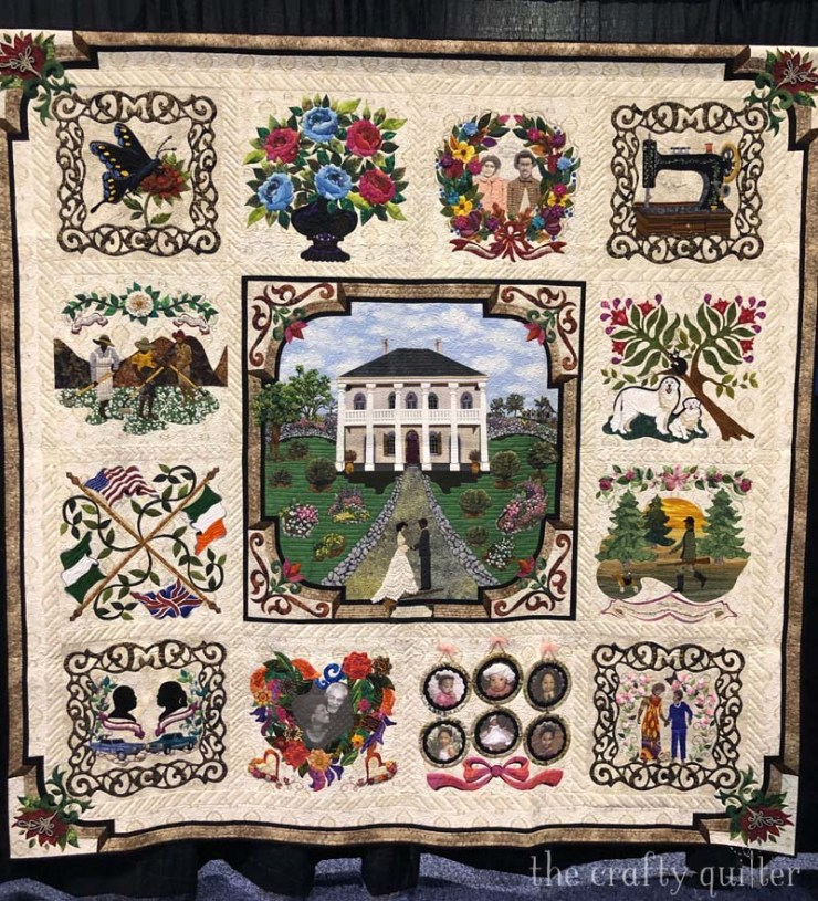 Family Reunion by Barbara McCraw won Best of World at PIQF 2019.  Photo by Julie Cefalu at The Crafty Quilter.