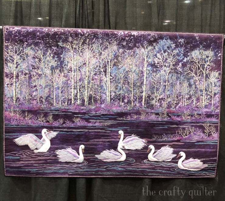 Feathers and Frost by Joanne Baeth won 1st Runner up at PIQF 2019.  Photo by Julie Cefalu at The Crafty Quilter.