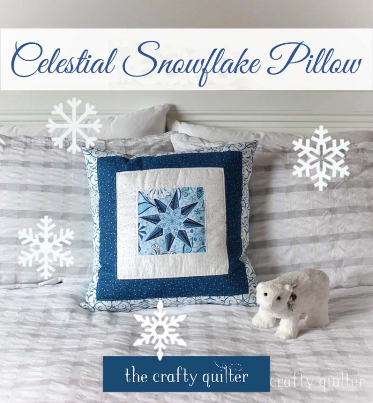 This Celestial Snowflake Pillow is a perfect, last minute gift - Full tutorial at The Crafty Quilter.