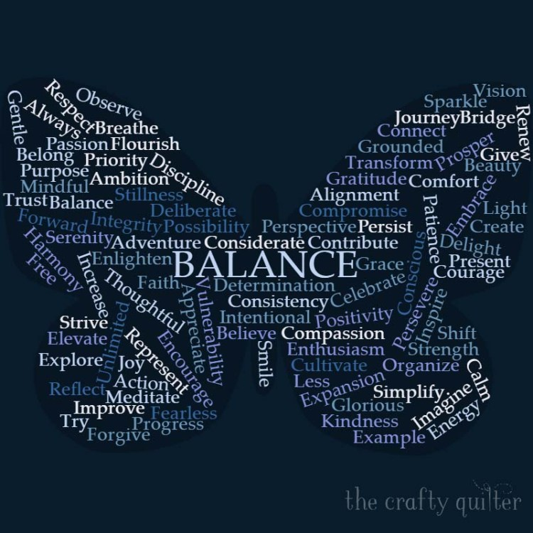 One Little Word cloud for Balance @ The Crafty Quilter