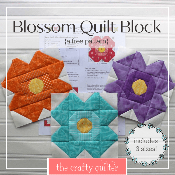 "Blossom Quilt Block Tutorial by Julie Cefalu @ The Crafty Quilter.  Includes a downloadable pdf with 6"", 9"" and 12"" block sizes."