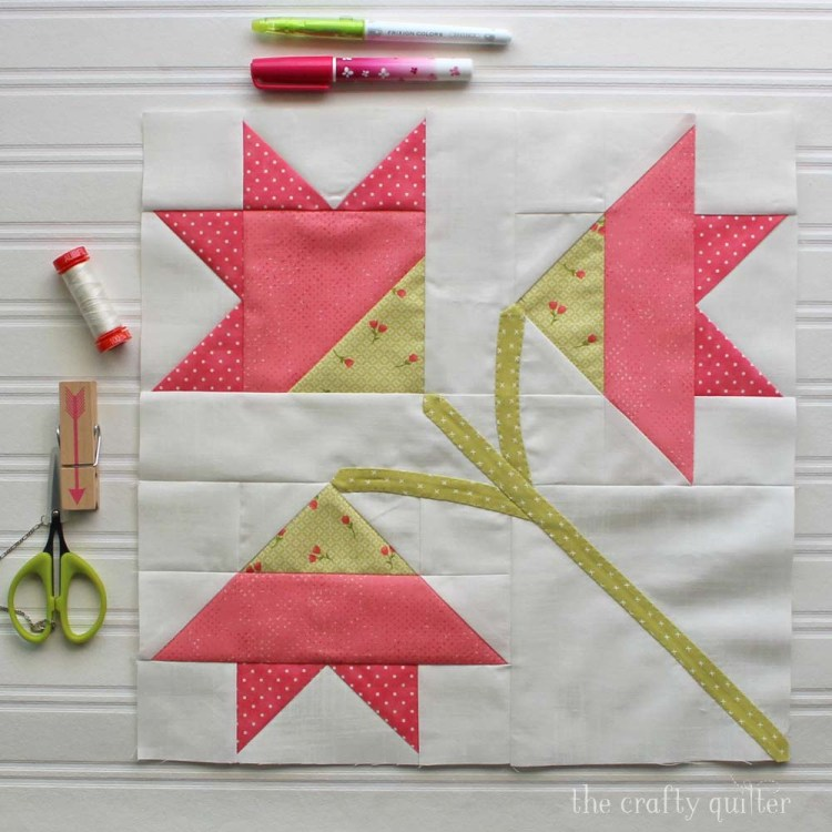 The Carolina Lily Quilt Block is a free pattern from Fat Quarter Shop for their Classic & Vintage Series.  This one is made by Julie Cefalu at The Crafty Quilter.