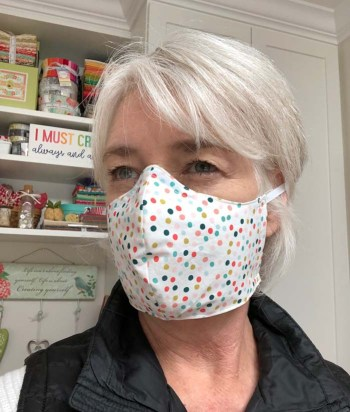 Julie Cefalu @ The Crafty Quilter wearing her Versatile Face Mask Pattern.