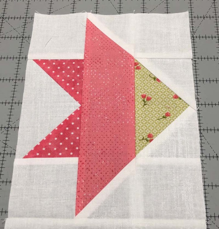 Diagonal seams line up perfectly for one section of the Carolina Lily Block.  Designed by Fat Quarter Shop and made by Julie Cefalu @ The Crafty Quilter.