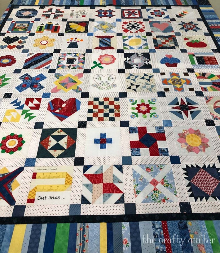 This Splendid Sampler Quilt top was made by Cindy Finn.  Ready for quilting.