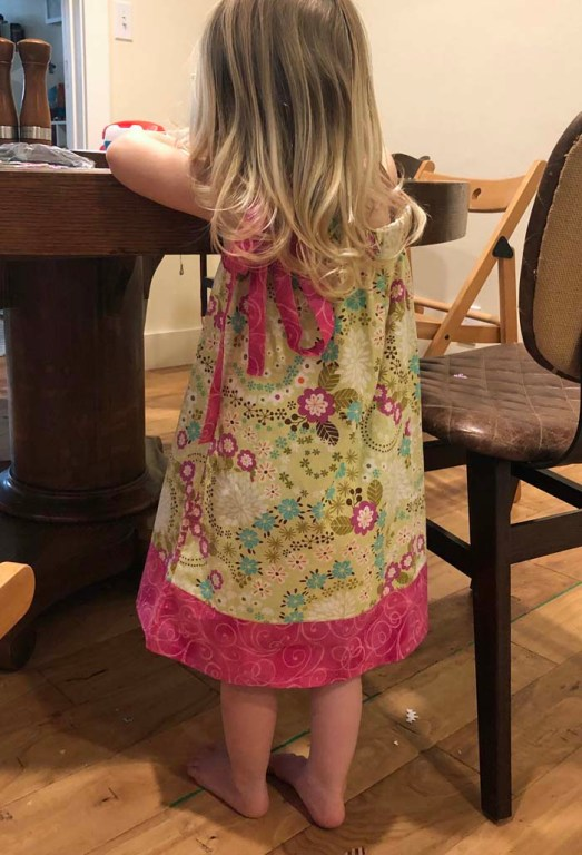 A pillow case dress for my granddaughter, Clara.