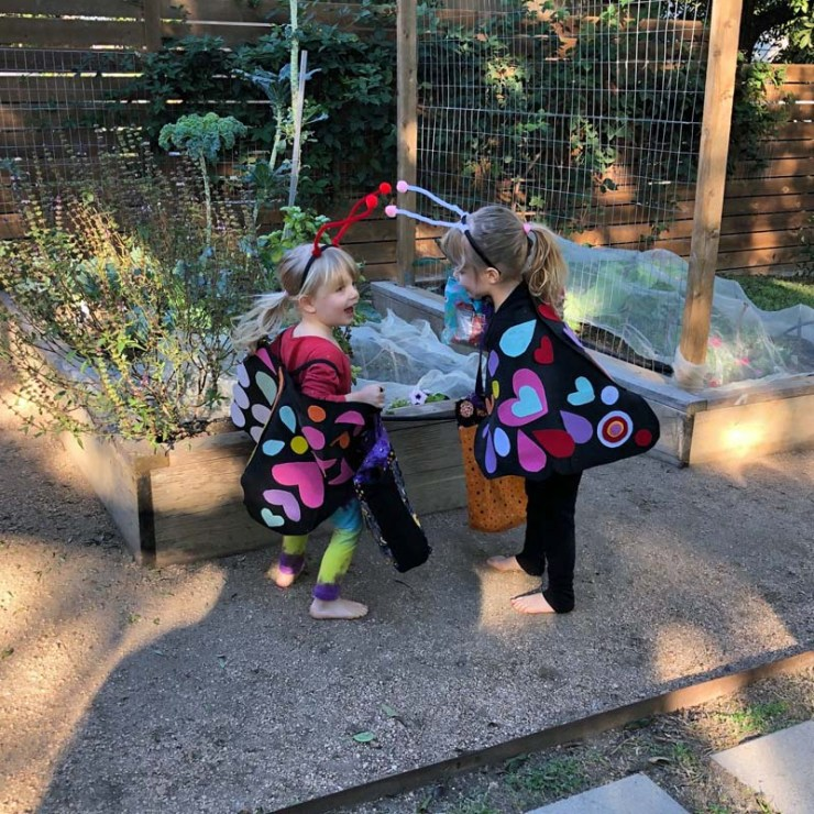 Clara and Amelia at their scavenger hunt for Halloween 2020.