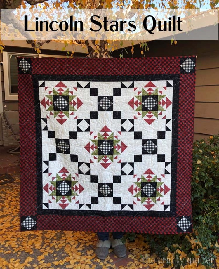 """Lincoln Stars Quilt pattern by Julie Cefalu @ The Crafty Quilter.  This 57"""" or 84"""" square quilt pattern is available in my Etsy Shop."""