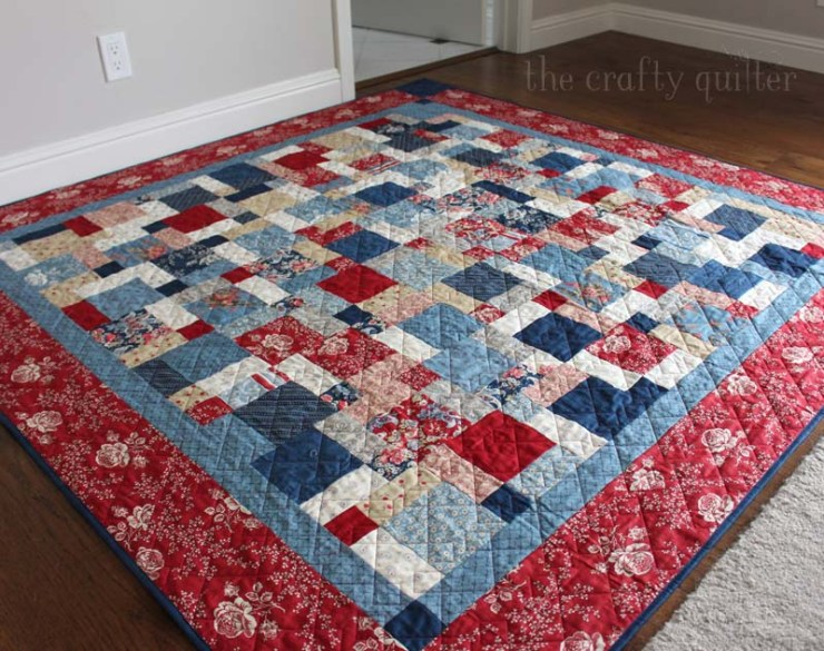 Disappearing nine patch quilt made by Julie Cefalu @ The Crafty Quilter, quilted by Audrey Crawford at Sew Katie Jean.