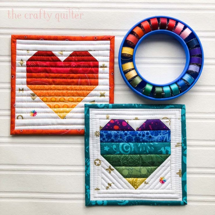 Ombre Heart Coasters are perfect for quick gifts and easy to make.  Basic instructions are shared at The Crafty Quilter.