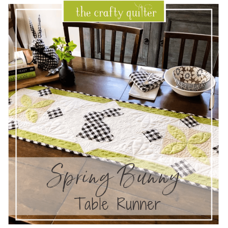 This Spring Bunny Table Runner tutorial is a quick and easy project from Julie @ The Crafty Quilter.  Simple applique and two pieced blocks make this a cute table runner for Spring and Easter!