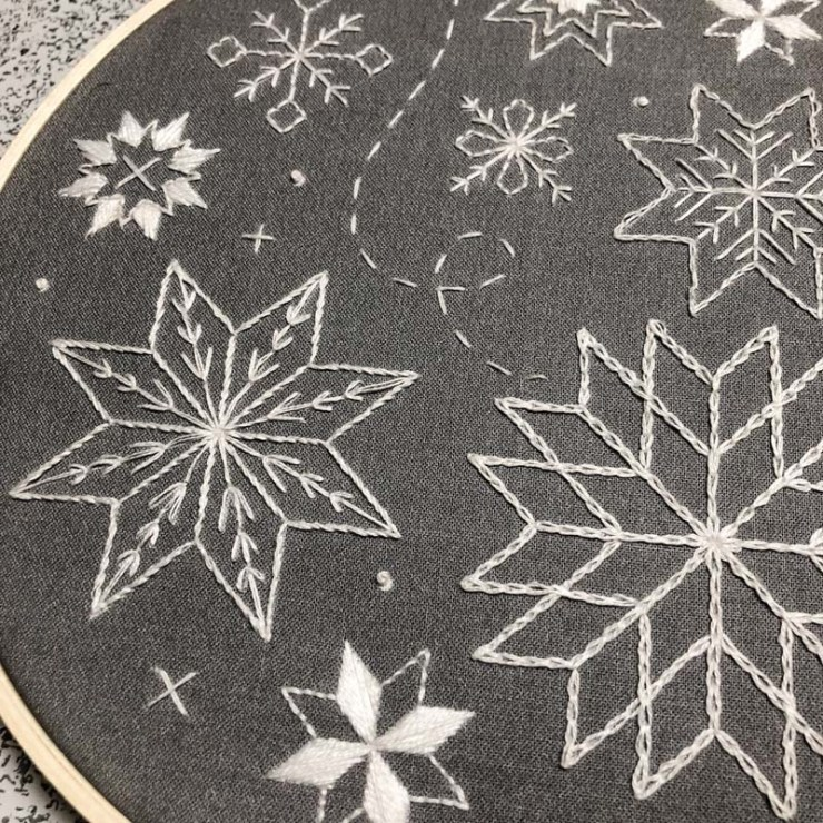 Snowflake Stitch Sampler Embroidery Kit by Beth Colletti.  Sample made by Julie Cefalu @ The Crafty Quilter.