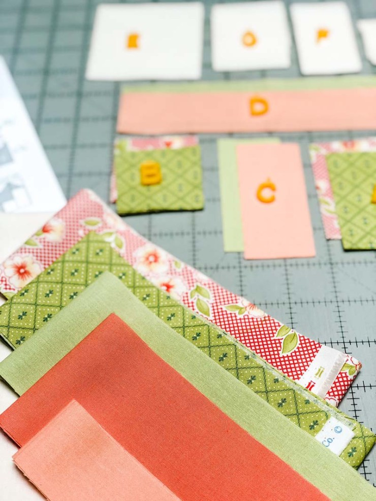 Strawberry Garden Mystery BOM from Fig Tree & Co.  Pieced by Julie Cefalu