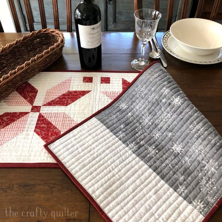 The Nordic Star Table Runner is a free pattern by Julie Cefalu @ The Crafty Quilter.  It's quick and easy - perfect for gifting or for your own home decor!