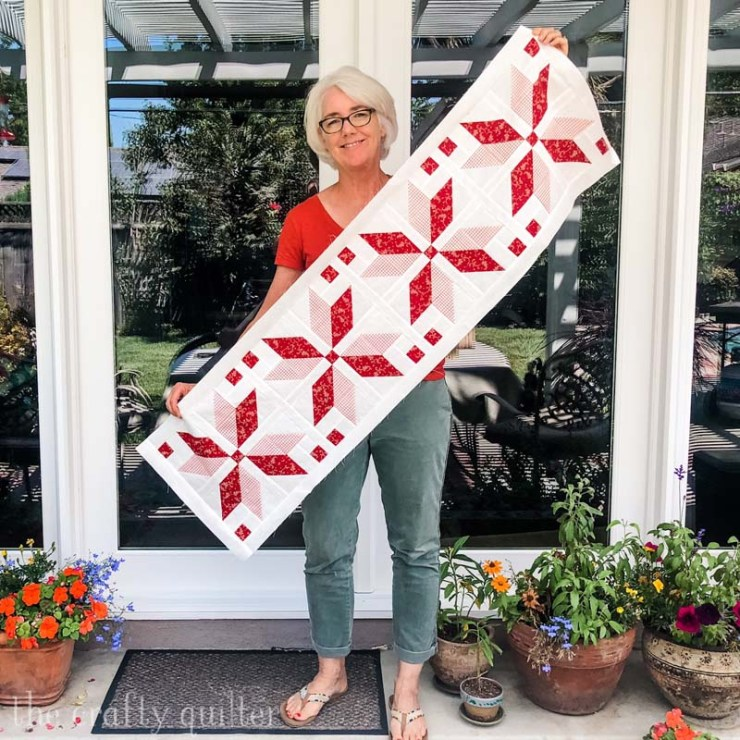 Nordic Star Table Runner - a free tutorial coming soon at The Crafty Quilter