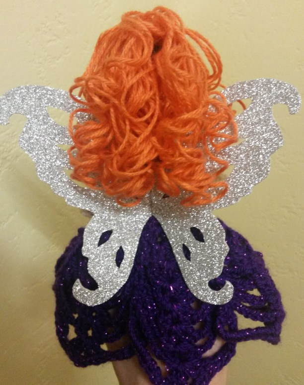 Red hair purple Tree Topper Fairy