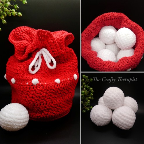 A Snowball Fight in a bag - Snowballs crochet pattern in a cute Santa style bag. Fun crochet pattern includes snowballs and crochet bag pattern. By The Crafty Therapist.
