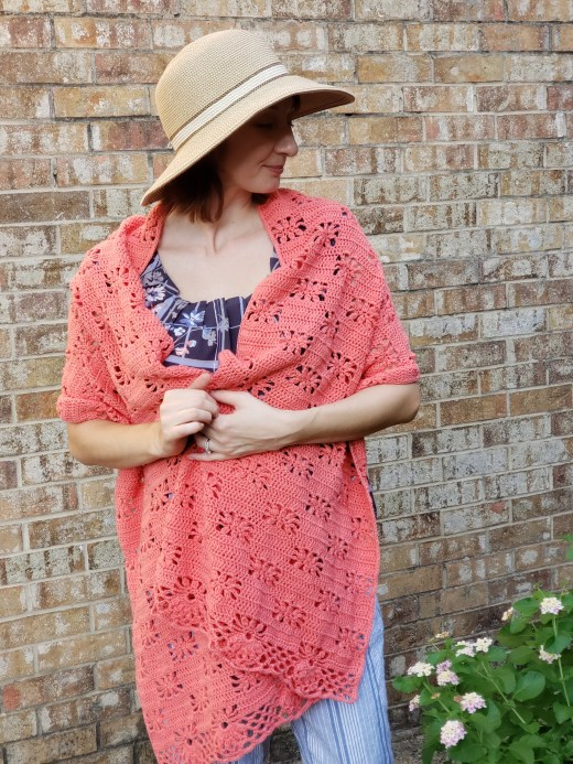 Peach Blossom Wrap by Natali's Crochet - part of a Spring Floral crochet pattern round-up by The Crafty Therapist