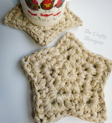 Sparkly star coaster crochet pattern