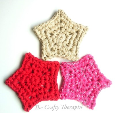 free crochet star pattern,  red gold and pink crochet stars