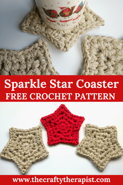 free crochet star pattern Pinterest graphic