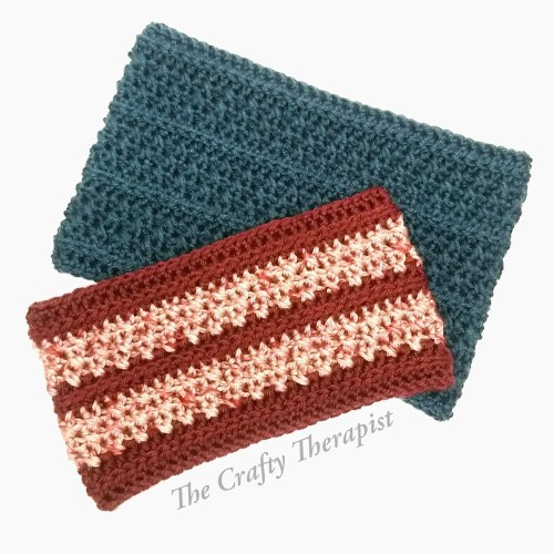 Teal and Burgundy/pink cowl crochet pattern