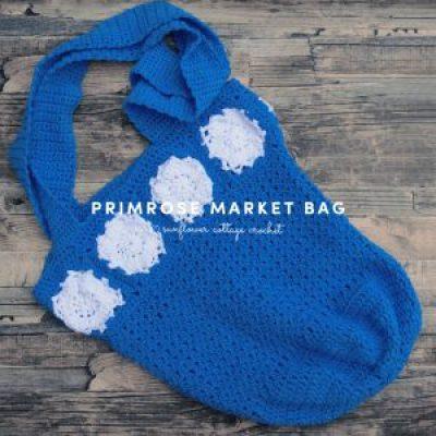 crochet flower market bag blue crochet gift idea