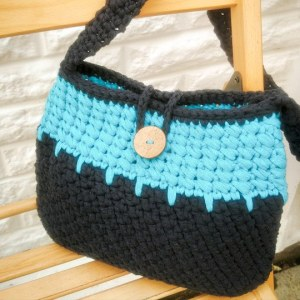 Turquoise and Navy crochet bag
