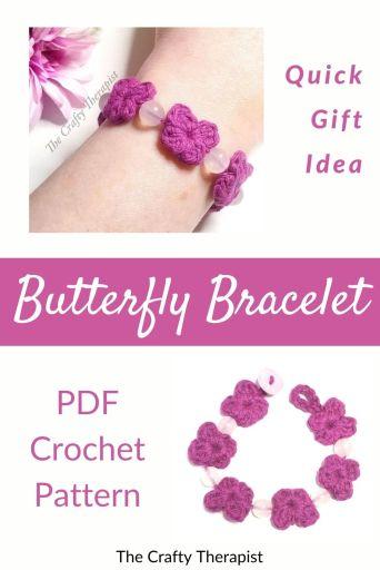 Butterfly Crochet Bracelet Pattern by The Crafty Therapist