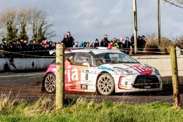 2nd with No. 8 Keith Cronin/Mikey Galvin on Citroen DS3 R5with time 1:46:23.1,3:25.4 after winner at Corrib Oil Galway International Rallly 2016. Saturday 6th February Stage at Corcally Beg. Photo by Darius Ivan, sponsored by Mileage Tyres Galway, www.mileagetyresgalway.ie