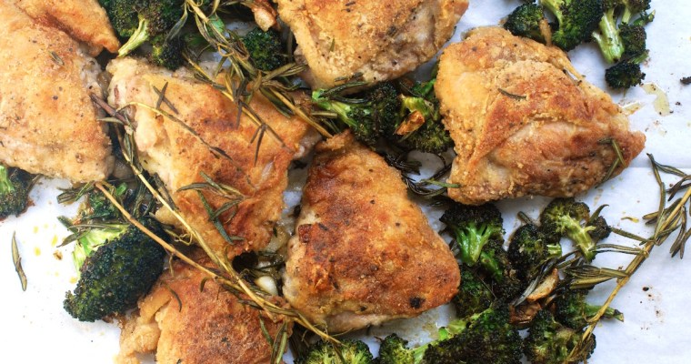 Crispy Chicken Thighs with Broccoli and Mushroom Gravy