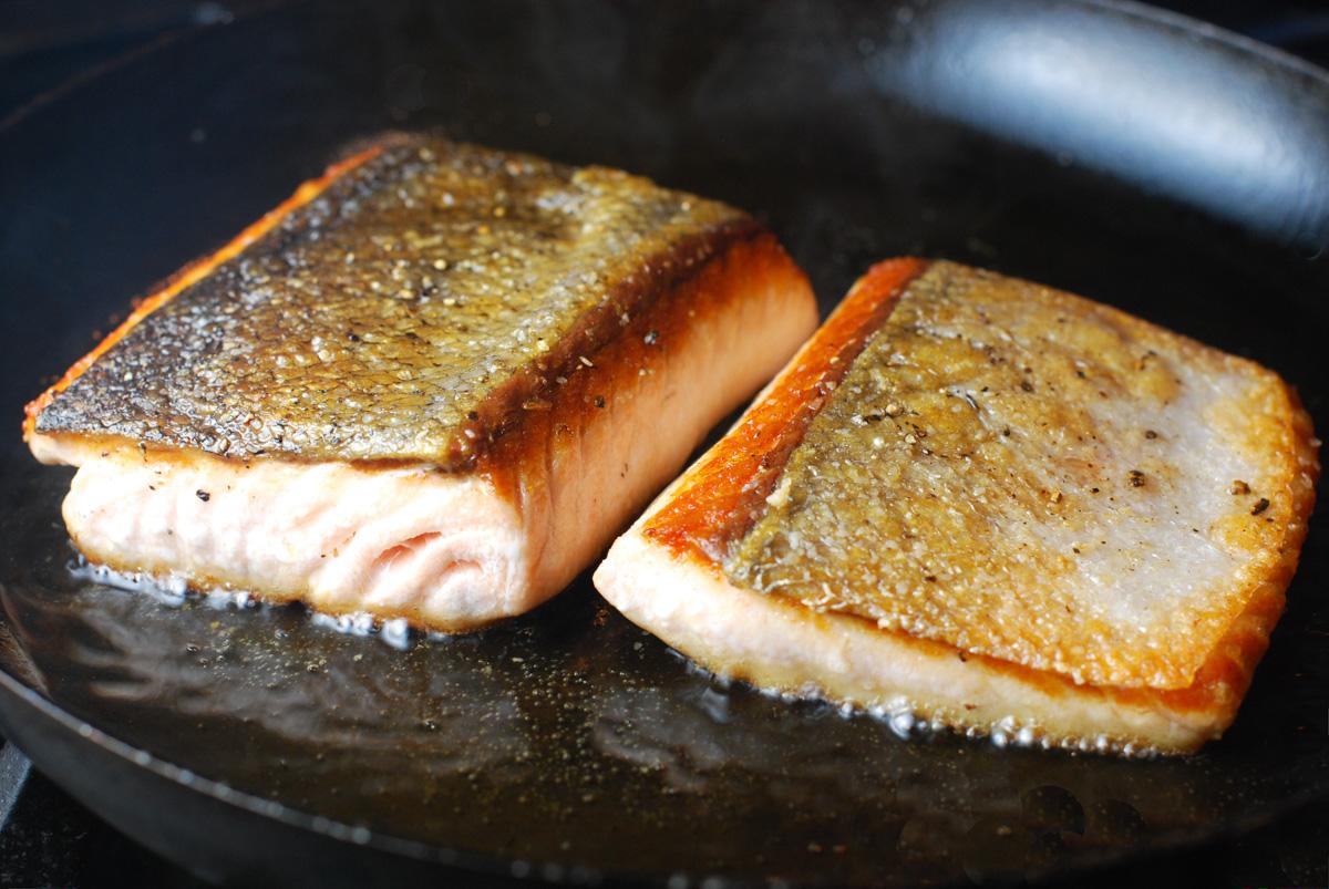 Crispy Skin Salmon with Cauliflower and Pancetta
