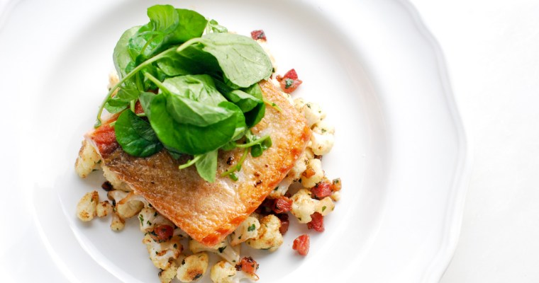 Crispy Skin Salmon with Cauliflower and Pancetta