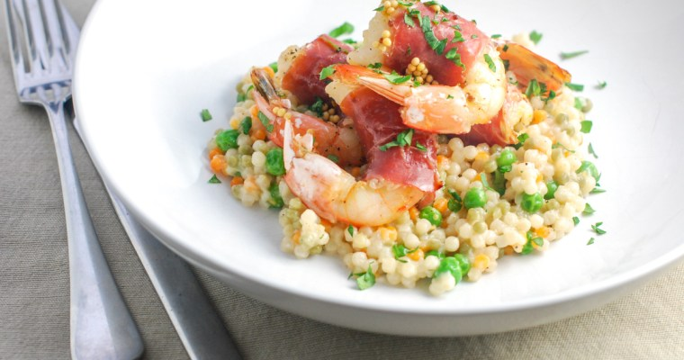 Prosciutto-Wrapped Shrimp and Lazy Risotto-Style Couscous