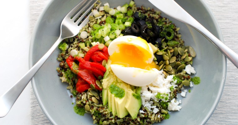 Southwestern Quinoa-Rice Bowl with a Six-Minute Egg