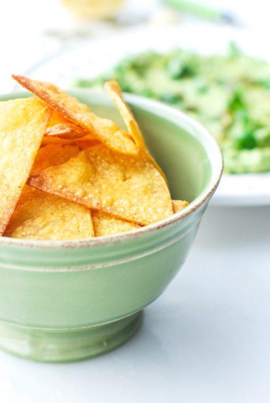 Bowl of Baked Corn Chips and Avocado Hummus