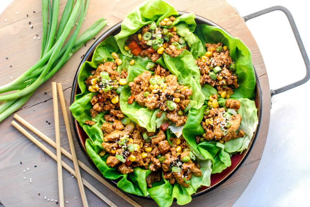Hoisin Chicken and Pork Lettuce Cups