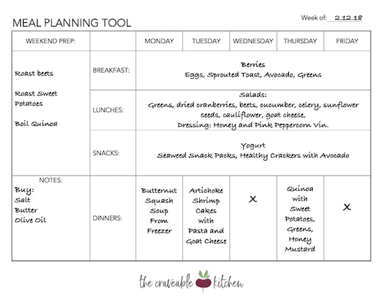 Weekly Meal Planning Tool