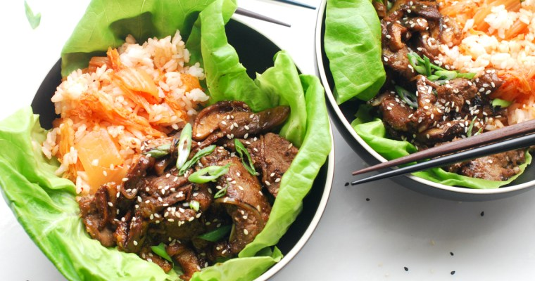 Korean Beef with Kimchi Rice