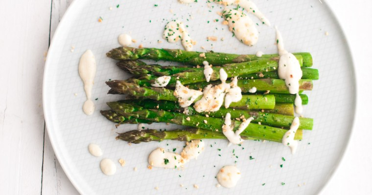 Roasted Asparagus & Creamy Cauliflower Alfredo
