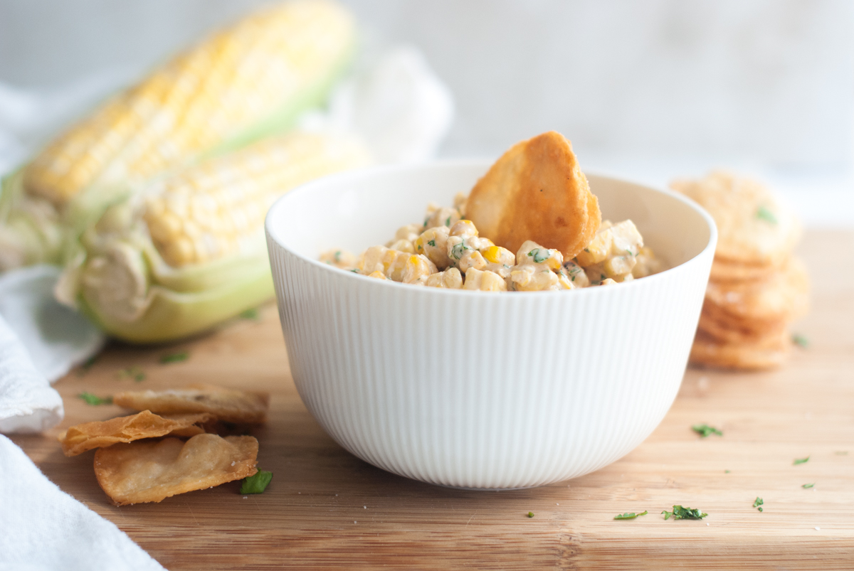Bowl of Street Corn Salsa with Tortilla Chips