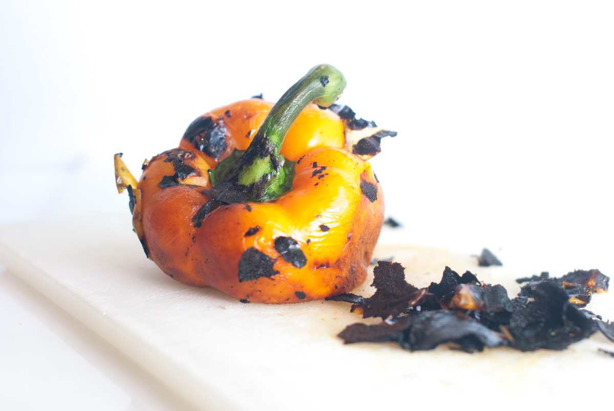 A roasted orange bell pepper.
