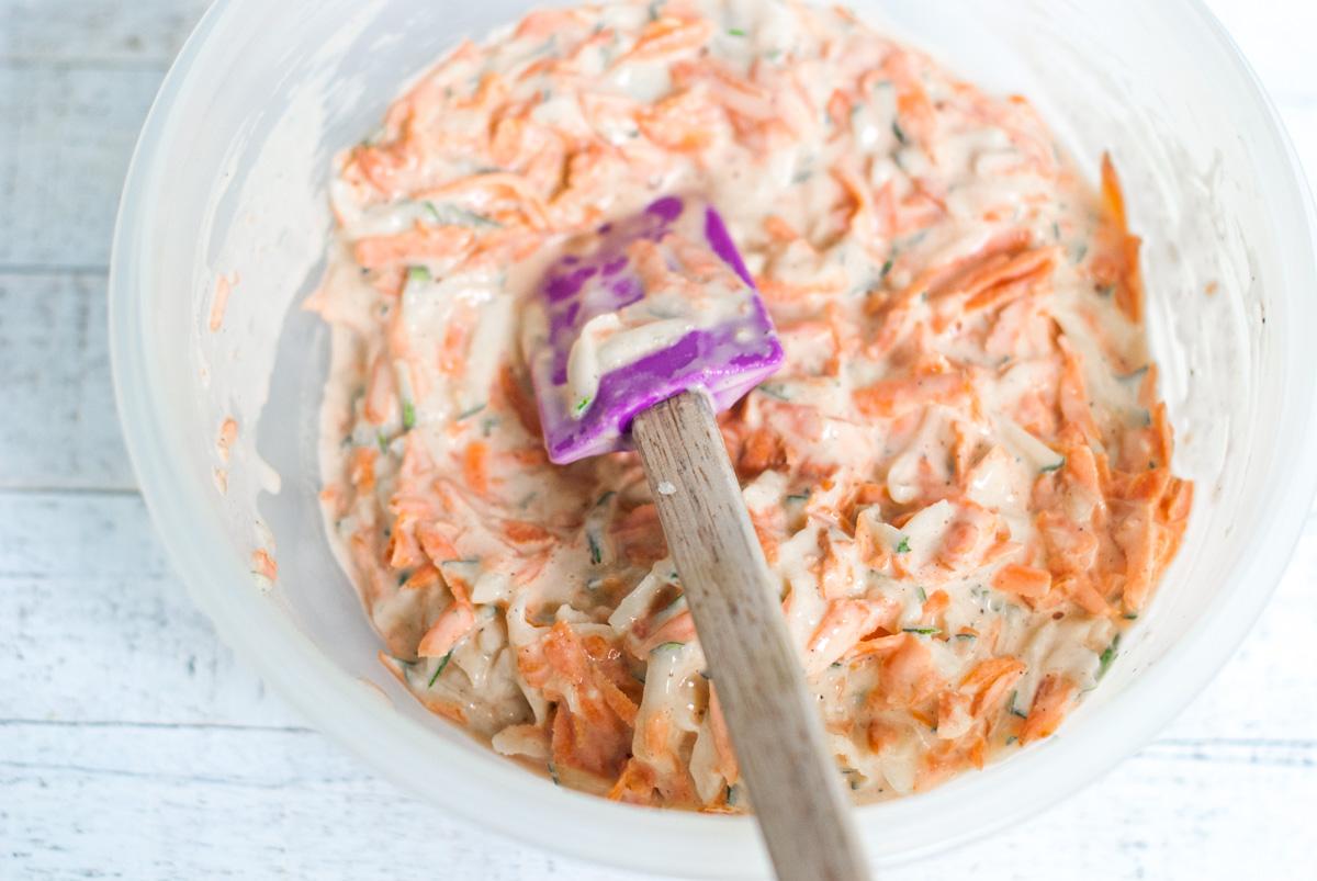 A bowl of Carrot Zucchini Fritter Batter